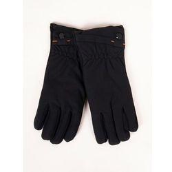 Rękawiczki męskie materiałowo-zamszowe czarne dotyk 25