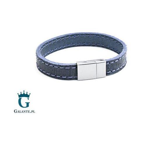 Bransoletki, Niebieska skórzana bransoleta TX234