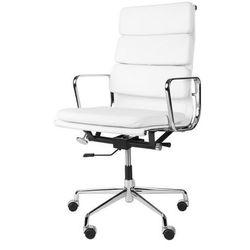 Fotel biurowy CH inspirowany EA219 skóra, chrom - biały