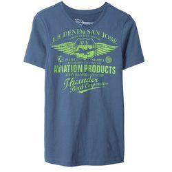T-shirt z dekoltem w serek Slim Fit bonprix indygo z nadrukiem