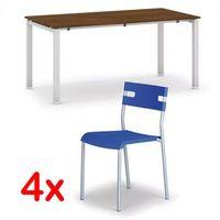 Pozostałe meble biurowe, Stół konferencyjny AIR 1600 x 800 mm, orzech + 4x krzesło LINDY GRATIS, niebieski