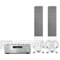 Yamaha MusicCast R-N602 (srebrny), Elac Debut Reference DFR52 (biały/orzech)