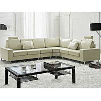 Narożniki, Stylowa sofa kanapa z beżowej skóry naturalnej narożnik - STOCKHOLM