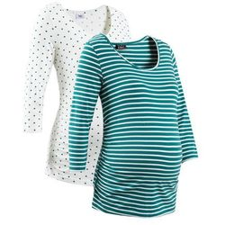 Shirt ciążowy biznesowy (2 szt.), bawełna organiczna bonprix niebieskozielony w paski + w groszki