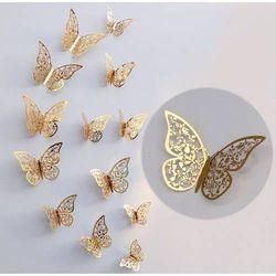 Ozdobne motylki złote metaliczne - 11 x 9 cm - 12 szt.