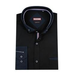 Koszula Męska Speed.A gładka czarna SLIM FIT z podwójnym kołnierzykiem na długi rękaw D845