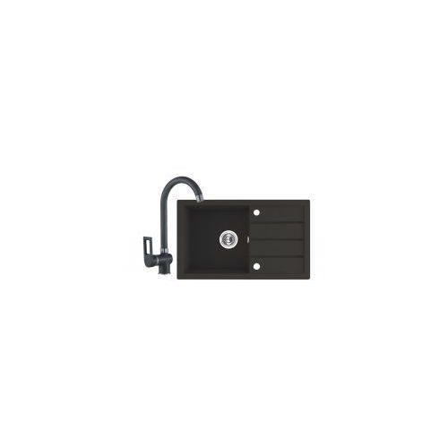 zestaw komplet sgyg711t trzynastka zlewozmywak 1-komorowy czarny grafit grafitowy sgy 711t + bateria bkn 768d marki Laveo