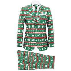 Świąteczny garnitur męski z krawatem, 2-częściowy, 54, zielony