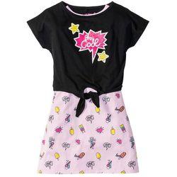 Sukienka + wiązany shirt (2 części) bonprix bladoróżowy z nadrukiem