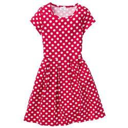 Sukienka drukowana w groszki bonprix czerwono-biały w groszki