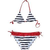 Stroje kąpielowe dziecięce, Bikini dziewczęce (2 części) bonprix ciemnoniebiesko-biały w paski