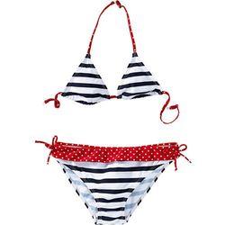 Bikini dziewczęce (2 części) bonprix ciemnoniebiesko-biały w paski