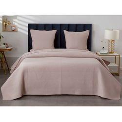Pikowana narzuta KILLY 230 × 250 cm i 2 poszewki na poduszki 65 × 65 cm – poliester – kolor jasny różowy