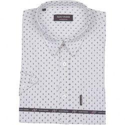 Biała koszula lniana z delikatnym nadrukiem z krótkim rękawem Aldo Vrandi