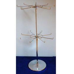 Obrotowy, dwupoziomowy, metalowy stojak do prezentacji np. biżuterii - chromowany