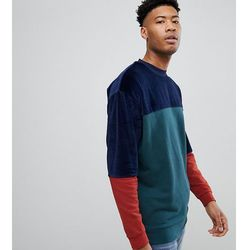 ASOS TALL Oversized Longline Sweatshirt In Velour Colour Block - Green