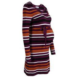 Sukienka dzianinowa ciążowa i do karmienia piersią, z wiązanym paskiem bonprix czarny bez w paski