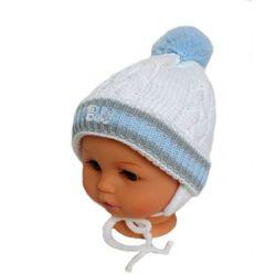 Zimowa czapka niemowlęca z szalikiem, podszyta polarem, rozmiar: 0 – 4 miesięcy