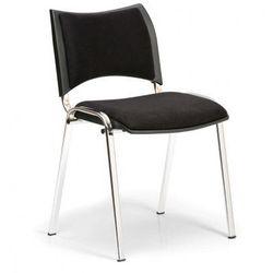 Krzesło konferencyjne SMART - chromowane nogi, bez podłokietników, czarny