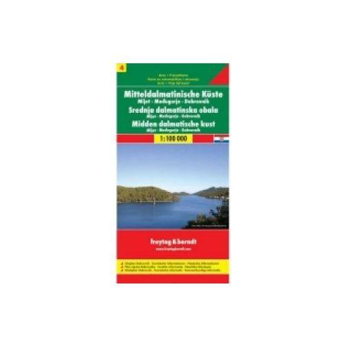 Mapy i atlasy turystyczne, DALMÁTSKÉ POBŘEŽÍ 4 DUBROVNIK MEDJUGORJE MLJET1:100 000