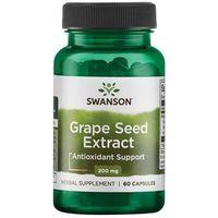 Preparaty na włosy, skórę i paznokcie, Swanson Grape Seed Extract 200mg - (60 kap)