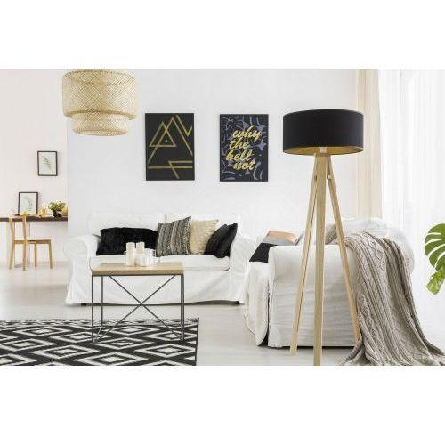 Lampy stojące, Lampa podłogowa na trójnogu z abażurem RAGABA WANDA jesionowa - kolor czarny