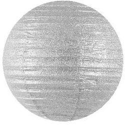 Lampion brokatowy Kula srebrny - 45 cm - 1 szt.