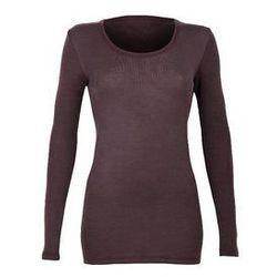 Koszulka damska z wełny merynosów (100%) - długi rękaw - kolory: śliwkowy, granatowy - DILLING
