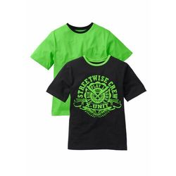 T-shirt chłopięcy ( 2szt.) bonprix czarno-jaskrawy zielony
