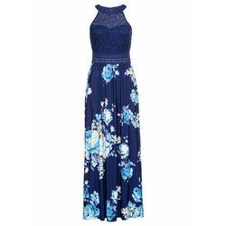Długa sukienka z kwiatowym nadrukiem i koronką bonprix ciemnoniebiesko-lila-jasnoróżowy