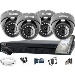 ZM12024 Zestaw do monitoringu Rejestrator BCS-CVR0802-XA 4x Kamera kopułowa HD Dysk 1TB akcesoria