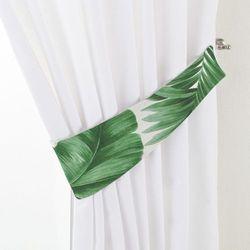 Dekoria Podwiązka Victoria, zielone liście na białym tle, 12 × 70 cm, Urban Jungle