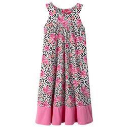 Sukienka w cętki leoparda bonprix biało-czarno-różowy