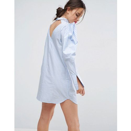 Koszule damskie, ASOS Extreme Sleeve Cotton Stripe Shirt Dress - Multi