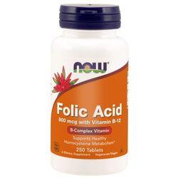 Now Foods Kwas Foliowy 800 mcg 250 tabletek