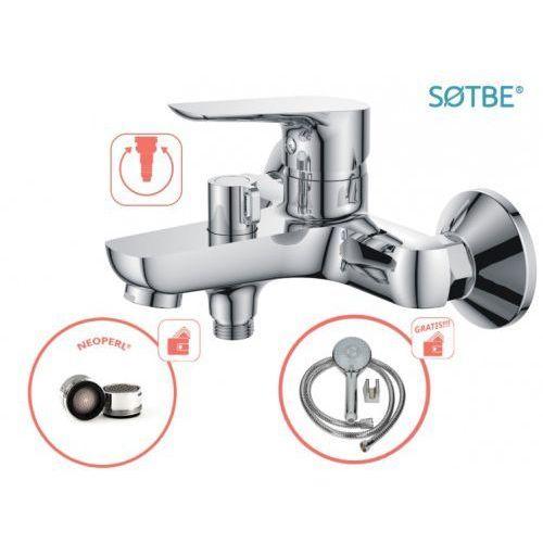 Bateria wannowa ścienna inari z zestawem prysznicowym marki Sotbe