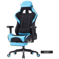 SELSEY Fotel gamingowy Ribble niebiesko-czarny