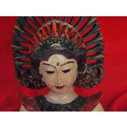 Dekoracyjny Prezent RZEŹBA Egzotyczna Maska MITYCZNEJ BOGINI Z WYSPY BALI