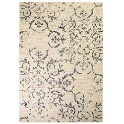 Nowoczesny dywan, wzór kwiatowy, 140 x 200 cm, beżowo-niebieski
