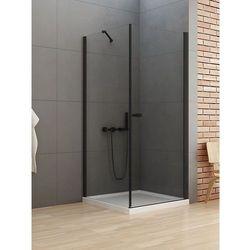 New Trendy New Soleo Black kabina prostokątna drzwi 80 x 90 cm wspornik równoległy wys. 195 cm, szkło czyste 6 mm D-0230A/D-0115B-WP