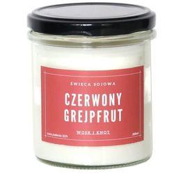 Świeca sojowa CZERWONY GREJPFRUT - aromatyczna ręcznie robiona naturalna świeca zapachowa w słoiczku 300ml