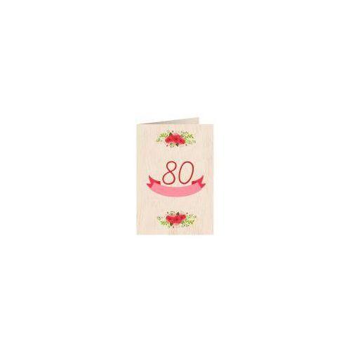 Pozostałe artykuły szkolne, Karnet drewniany C6 + koperta Urodziny 80