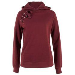 Bluza z kapturem i sznurowaniem bonprix czerwony kasztanowy