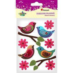 Naklejki filcowe: ptaszki, mix rozmiarów (113-0135)