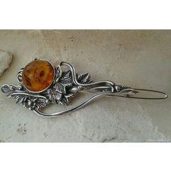 SECESJA - srebrna spinka do włosów z bursztynem
