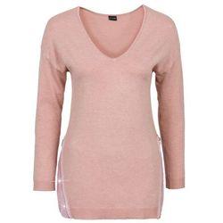 Sweter z aplikacją z cekinów bonprix stary jasnoróżowy melanż