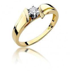 Biżuteria SAXO 14K Pierścionek z brylantem 0,12ct W-300 Złoty