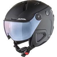 Kaski i gogle, Alpina Attelas Visor QVM Kask, black matt silver 53-58cm 2019 Kaski narciarskie