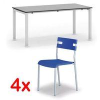 Pozostałe meble biurowe, Stół konferencyjny AIR 1600 x 800 mm, szary + 4x krzesło LINDY GRATIS, niebieski