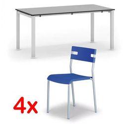 Stół konferencyjny AIR 1600 x 800 mm, szary + 4x krzesło LINDY GRATIS, niebieski